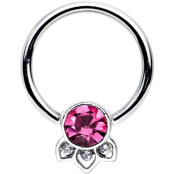 "14 Gauge 1/2"" Pink Gem Elegant Delight Captive Bead Ring"