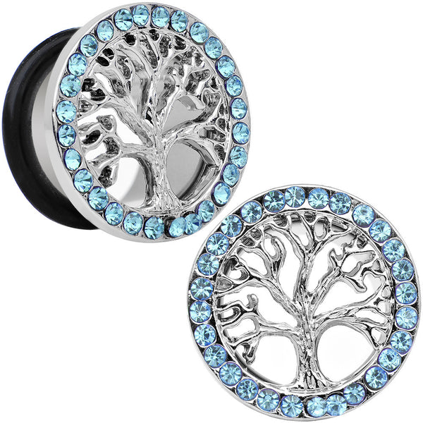 5/8 Blue Gem Stainless Steel Single Flare Tree of Life Plug Set