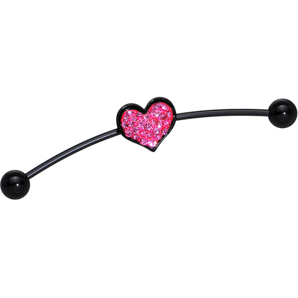 Pink Gem Ferido Heart Black PTFE Flexible Industrial Barbell 52mm
