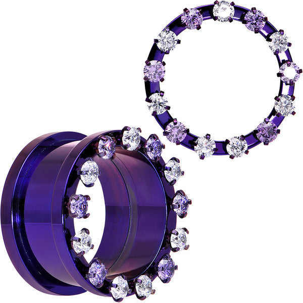 "7/8"" Purple Titanium Tunnels with Removable Dermal Tops"