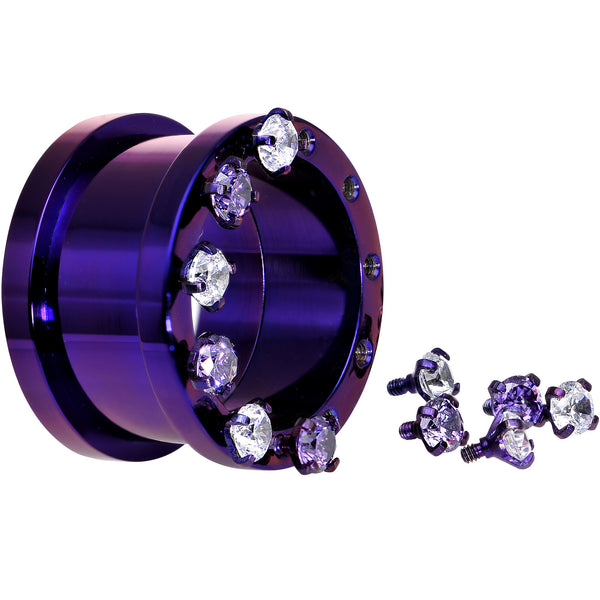 1 inch Purple Titanium Tunnels with Removable Dermal Tops