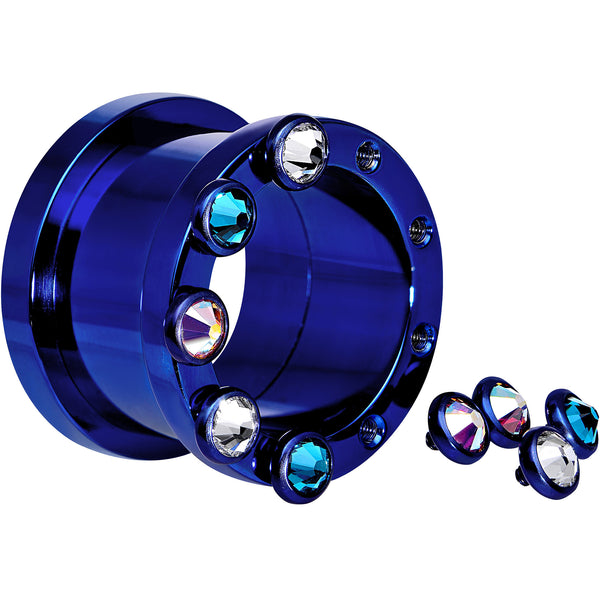 3/4 Dark Blue Titanium Tunnels with Removable Dermal Tops