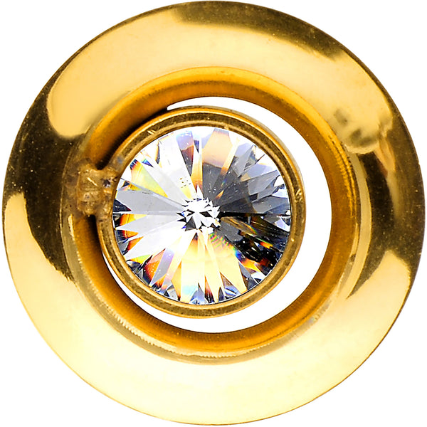 0 Gauge Gold IP Clear CZ Double Flare Screw Fit Tunnel