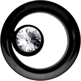 "1/2"" Black IP Clear CZ Double Flare Screw Fit Tunnel"