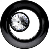00 Gauge Black IP Clear CZ Double Flare Screw Fit Tunnel