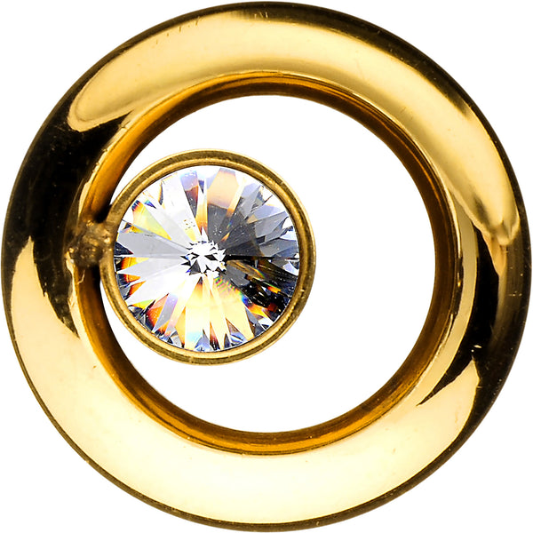 00 Gauge Gold IP Clear CZ Double Flare Screw Fit Tunnel