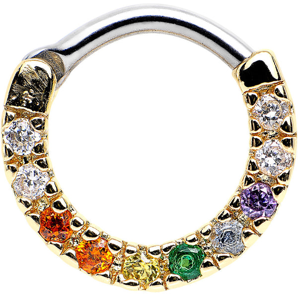 "14 Gauge 5/16"" Multicolored CZ Gold IP Sparkling Wreath Septum Clicker"