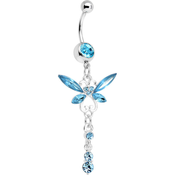 Aqua Gem Butterfly Dangle Belly Ring