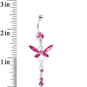 Pink Gem Butterfly Dangle Belly Ring