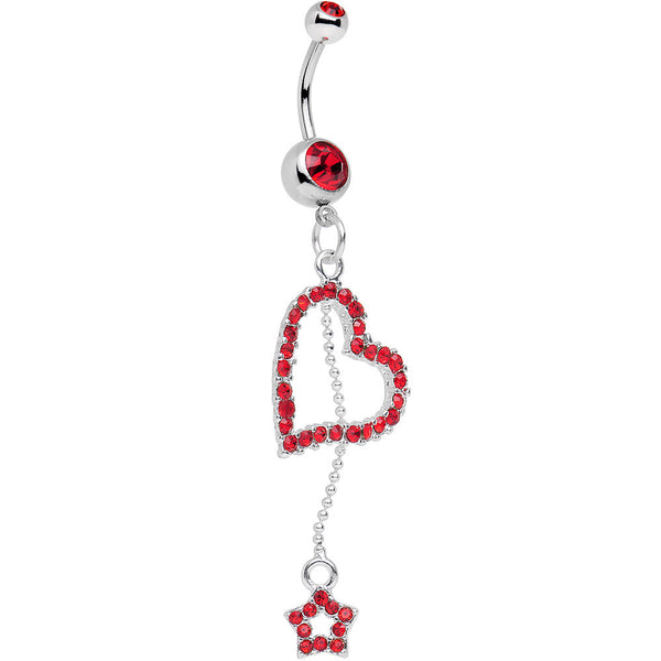 Red Paved Heart and Star Dangle Belly Ring