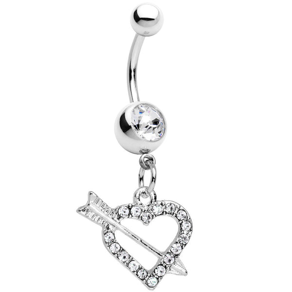 Clear Paved Impaled Heart Dangle Belly Ring