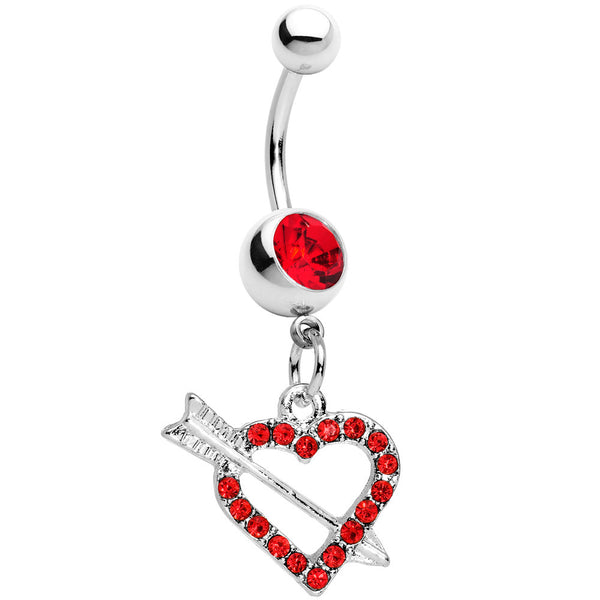 Red Paved Impaled Heart Dangle Belly Ring