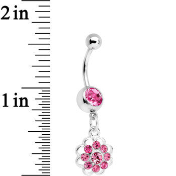 Pink Gem Blossoming Flower Dangle Belly Ring