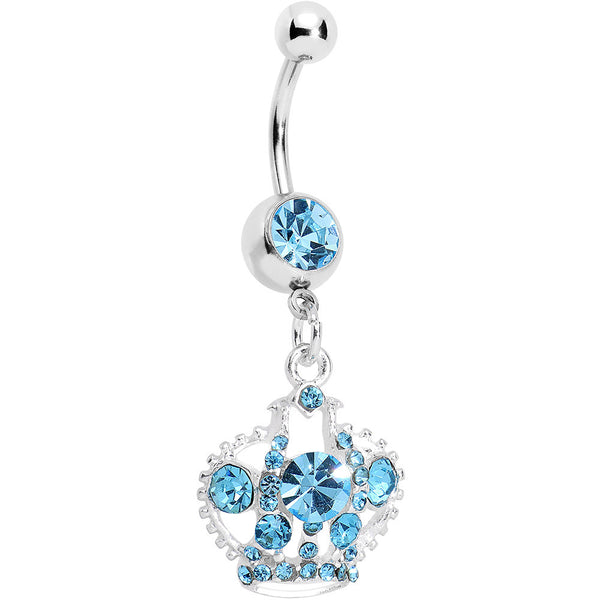 Aqua Gem Crown Dangle Belly Ring