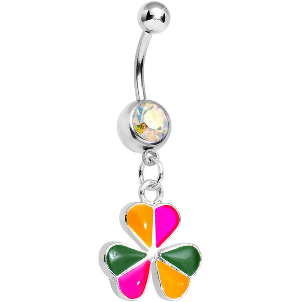 Aurora Gem Pink Orange Green Clover Dangle Belly Ring