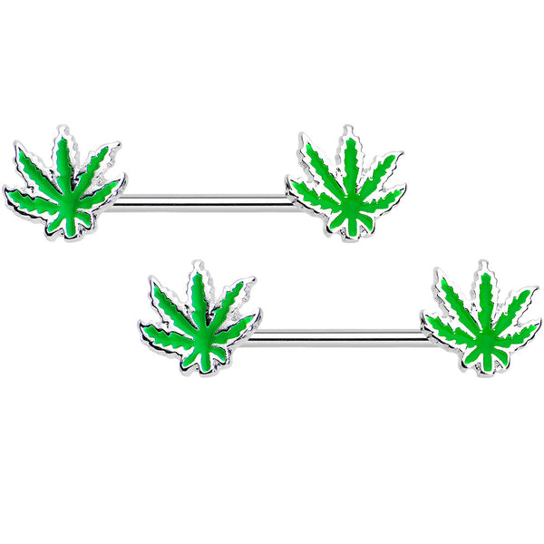Green Hemp Leaf Stainless Steel Nipple Barbell Set