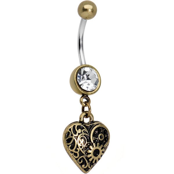 Antiqued Brass Steampunk Heart Dangle Belly Ring
