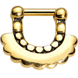 "14 Gauge 1/4"" Gold Anodized Aztec Angel Septum Clicker"