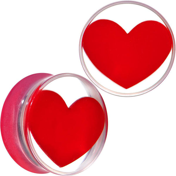 Clear Acrylic Red Heart Double Flare Saddle Plug Set 2 Gauge to 20mm