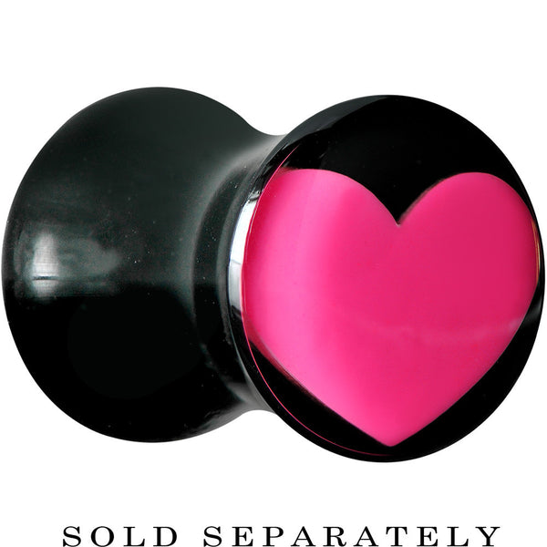 2 Gauge Black Acrylic Hot Pink Heart Saddle Plug