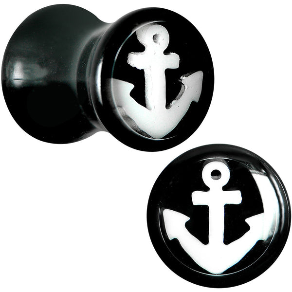 2 Gauge Black Acrylic White Nautical Anchor Saddle Plug Set