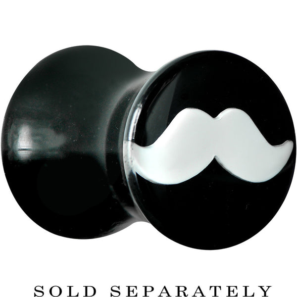 2 Gauge Black Acrylic White Mustache Saddle Plug