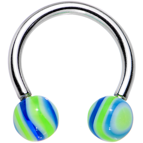 Baby Blue Lime HYPNOTIC Horse Shoe Circular Barbell
