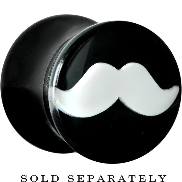 0 Gauge Black Acrylic White Mustache Saddle Plug