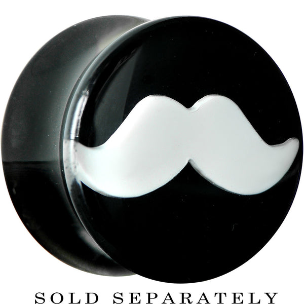 "9/16"" Black Acrylic White Mustache Saddle Plug"