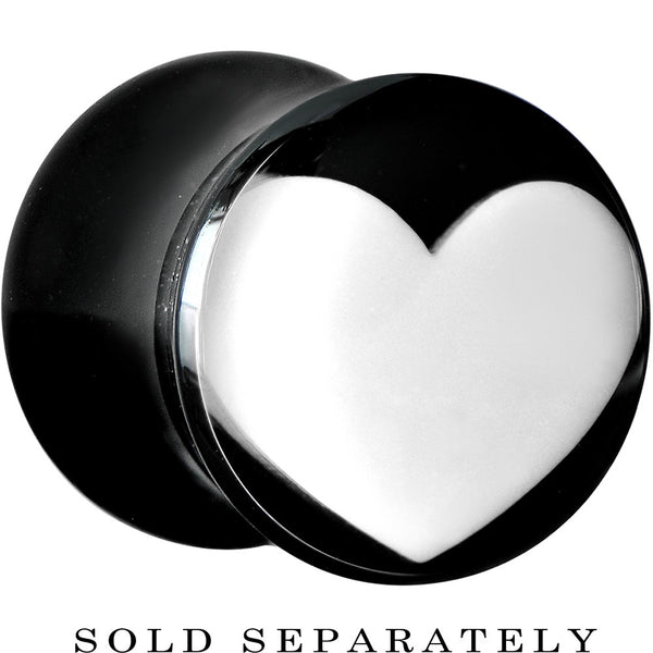 0 Gauge Black Acrylic White Heart Saddle Plug