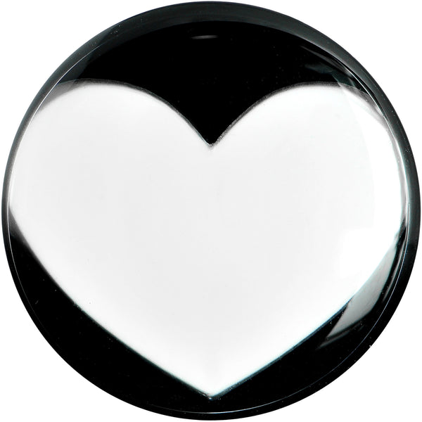 1/2 Black Acrylic White Heart Saddle Plug