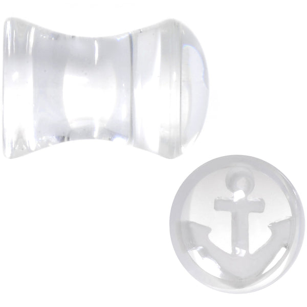 White Anchor Clear Acrylic Saddle Plug Set Available in Sizes 6mm to 20mm