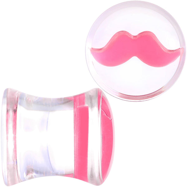 Clear Acrylic Pink Mustache Double Flare Saddle Plug Set 2 Gauge to 20mm