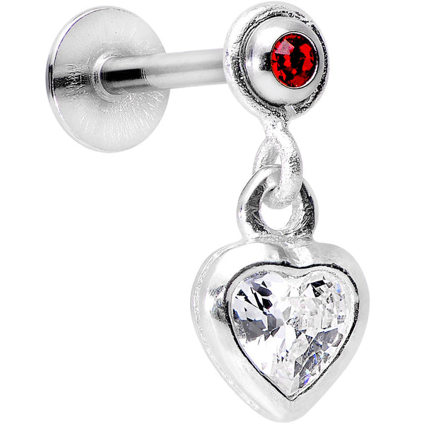 925 Silver Red Gem Clear Heart Dangle Cartilage Tragus Earring