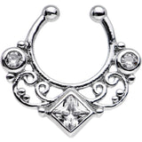 Clear Cubic Zirconia Lahori Palace Non-Pierced Clip On Septum Ring