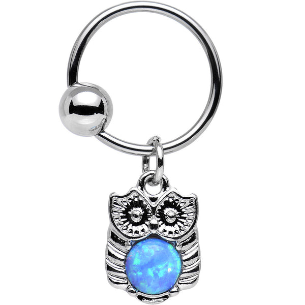 16 Gauge 1/2 Blue Faux Opal Wise Owl Dangle Captive Ring