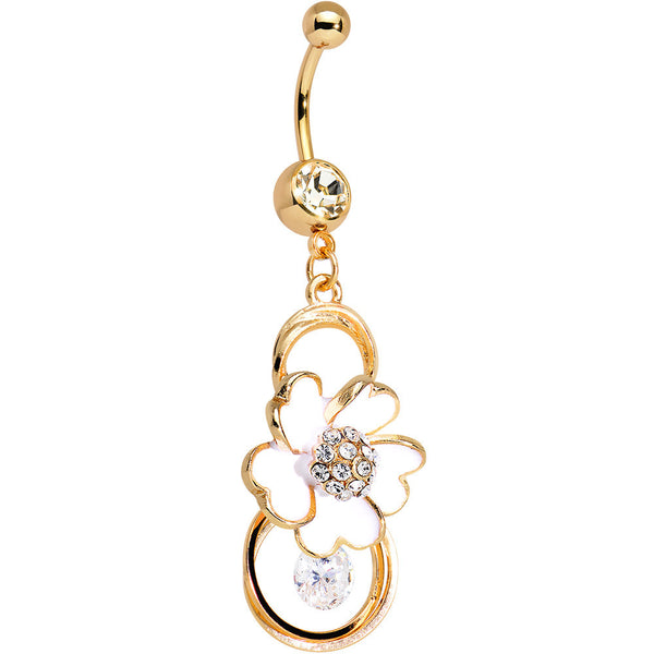 Clear Gem Gold Anodized White Heart Petal Flower Dangle Belly Ring