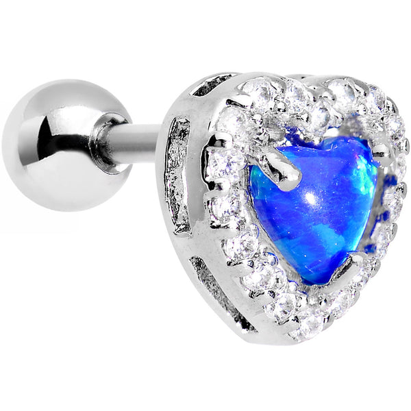 Stainless Steel Blue Faux Opal Heart Tragus Cartilage Earring