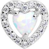 Stainless Steel White Faux Opal Heart Tragus Cartilage Earring