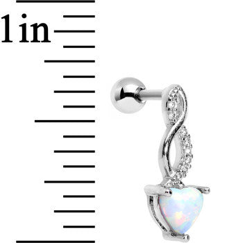 White Synthetic Opal Steel Twist Left Tragus Cartilage Earring