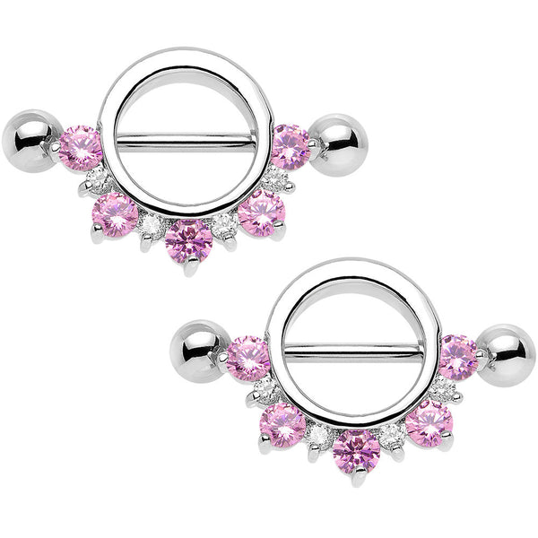 14 Gauge Pink and Clear Cubic Zirconia Nipple Shield Set 3/4