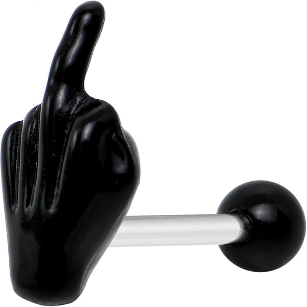 "14 Gauge 5/8"" Black Acrylic Flip the Middle Finger Barbell Tongue Ring"