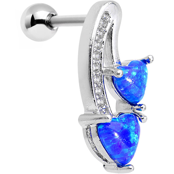 16 Gauge Blue Synthetic Opal Double Heart Right Cartilage Earring