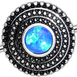 Blue Synthetic Opal Stainless Steel Medallion Industrial Barbell 37mm