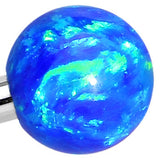 316L Stainless Steel Blue Faux Opal Ended Industrial Barbell 35mm