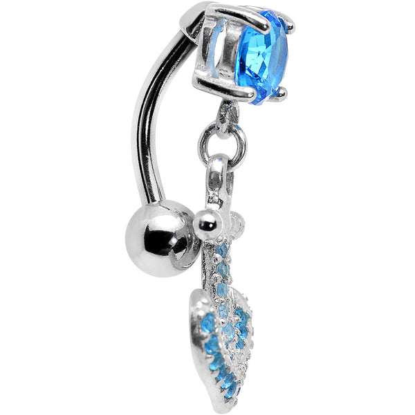 925 Sterling Silver Aqua Jeweled Anchor Top Mount Dangle Belly Ring