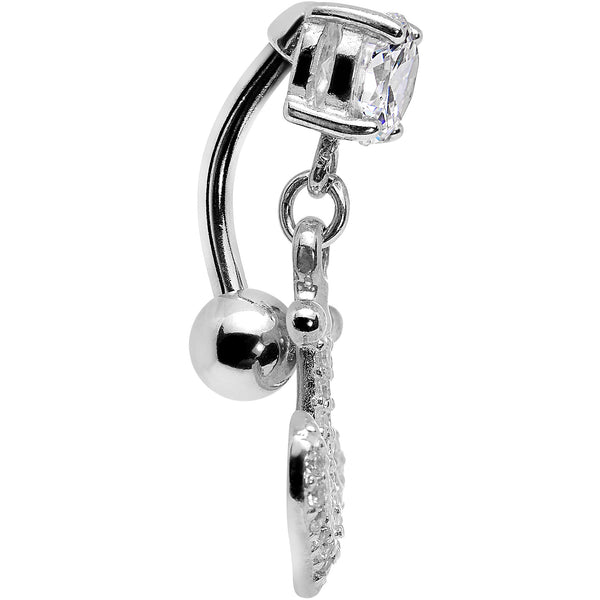 925 Sterling Silver Clear Jeweled Anchor Top Mount Dangle Belly Ring