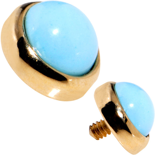 14 Gauge 14kt Yellow Gold 4mm Round Faux Turquoise Dermal Anchor Top