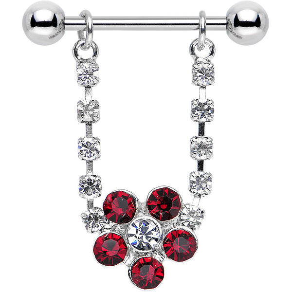 "14 Gauge 3/4"" Red and Clear Gem Tantalizing Flower Dangle Nipple Ring"