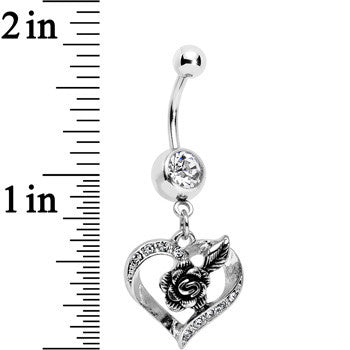 Clear Gem Tattoo Rose Flower in a Hollow Heart Dangle Belly Ring